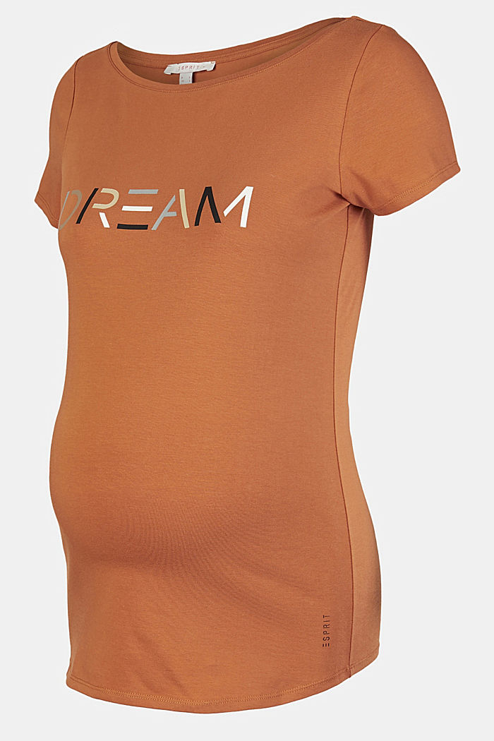 Stretch cotton T-shirt, RUST, detail image number 4