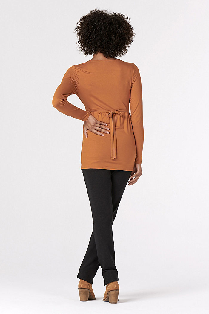 Long sleeve nursing top, LENZING™ ECOVERO™, RUST, detail image number 3