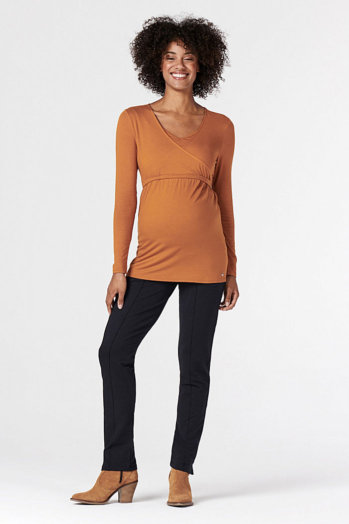 Long sleeve nursing top, LENZING™ ECOVERO™, RUST, detail image number 5