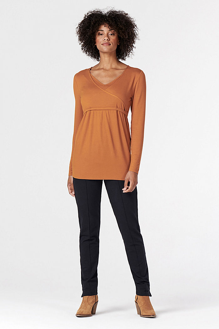 Long sleeve nursing top, LENZING™ ECOVERO™, RUST, detail image number 1