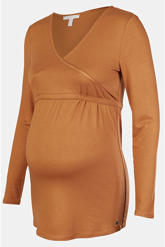Long sleeve nursing top, LENZING™ ECOVERO™, RUST, overview