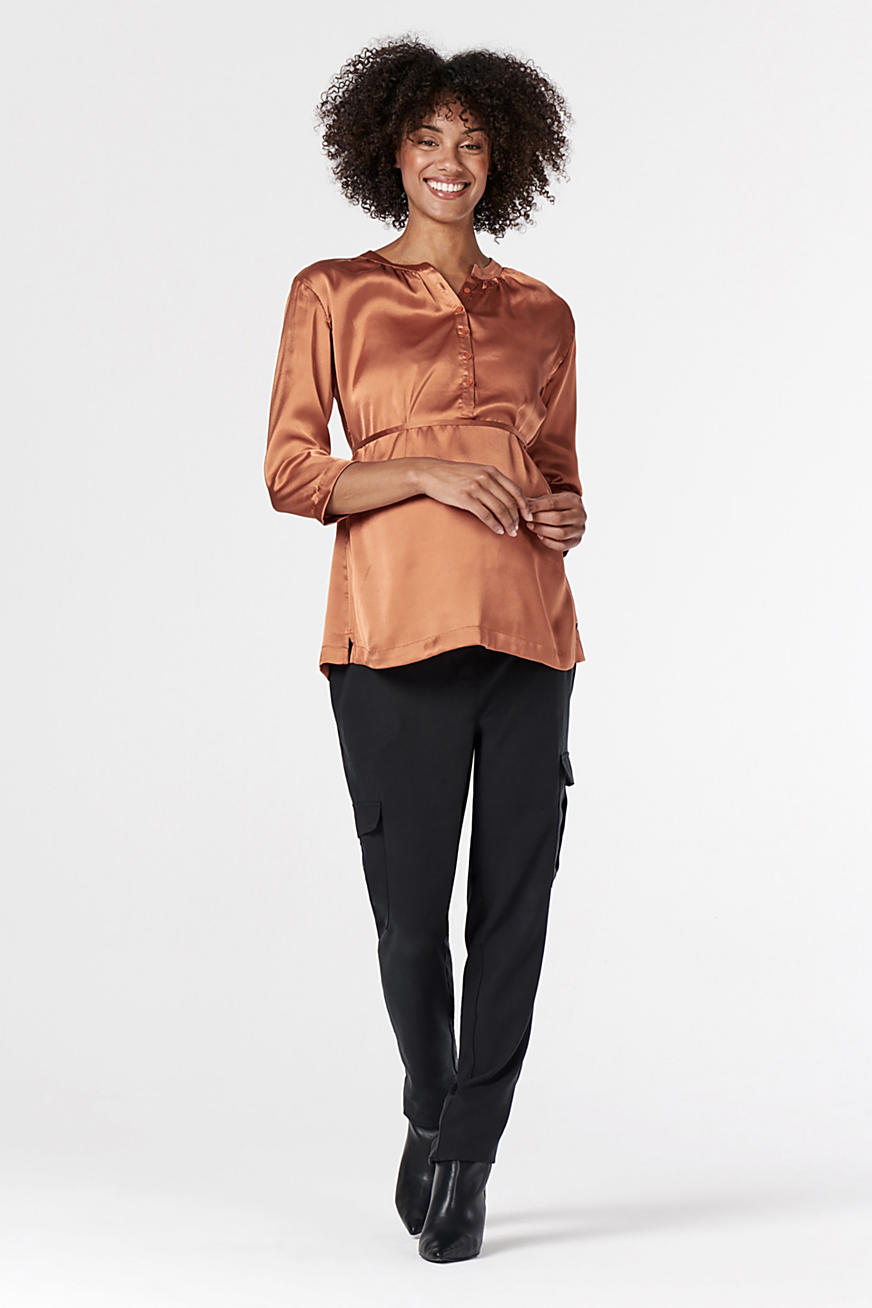Nursing-friendly satin blouse
