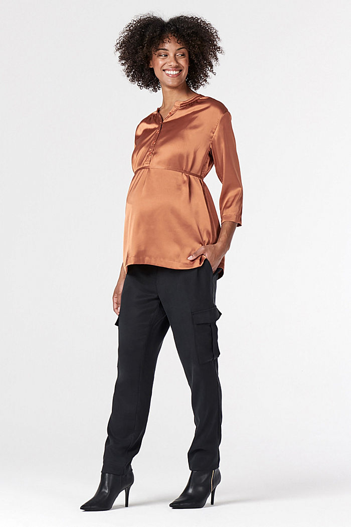 Nursing-friendly satin blouse, RUST, detail image number 1