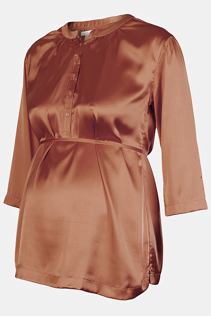 Nursing-friendly satin blouse, RUST, detail image number 4