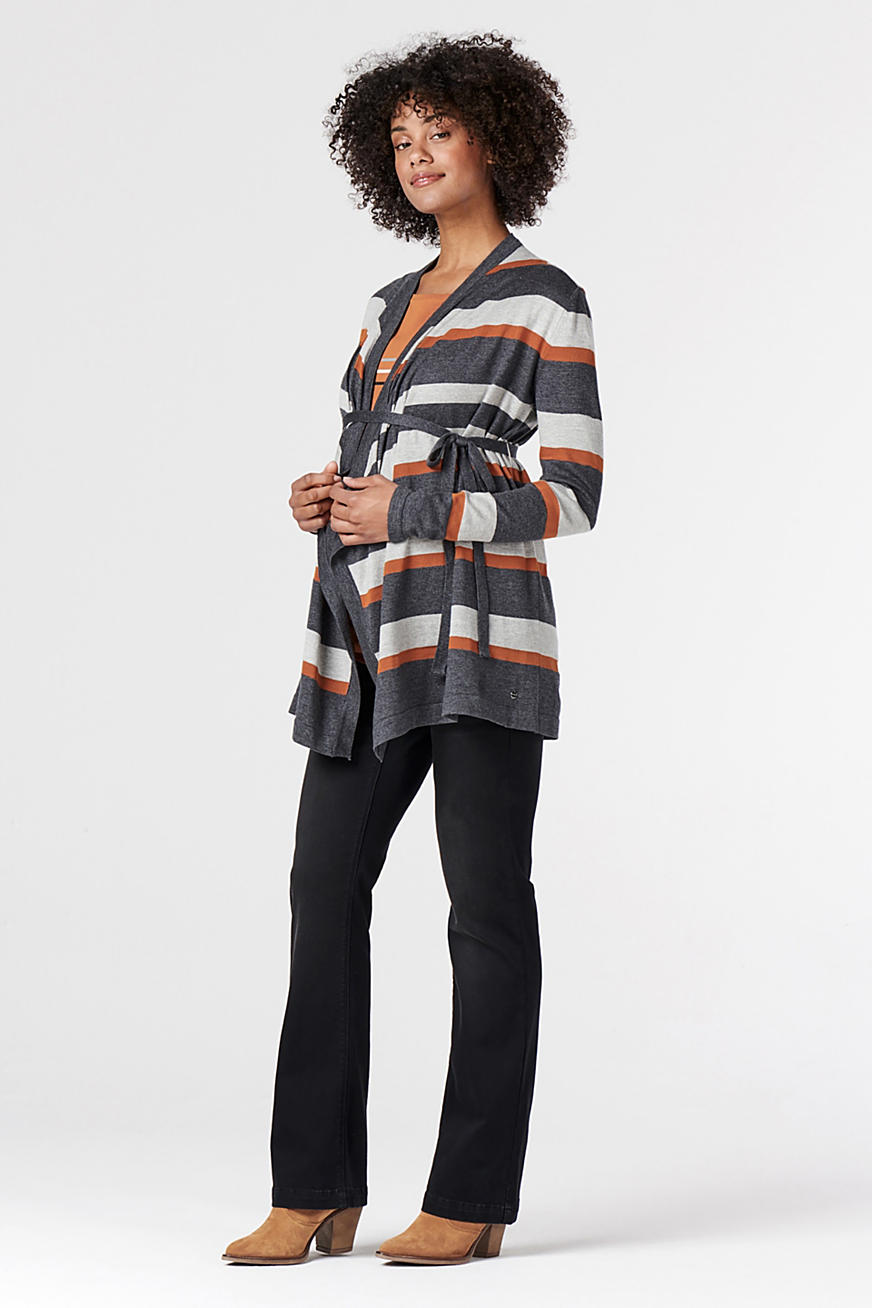 Striped cardigan with belt
