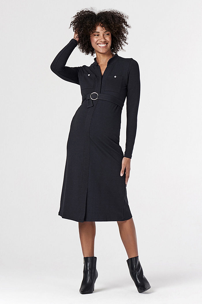 Jersey dress with organic cotton and a nursing function, GUNMETAL, detail image number 1