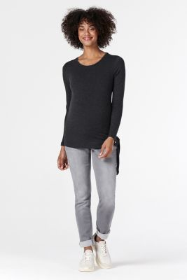 Soft jeans with an over-bump waistband, GREY DENIM, detail