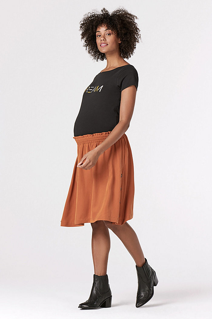 Lyocell skirt with a comfy waistband, RUST, detail image number 0