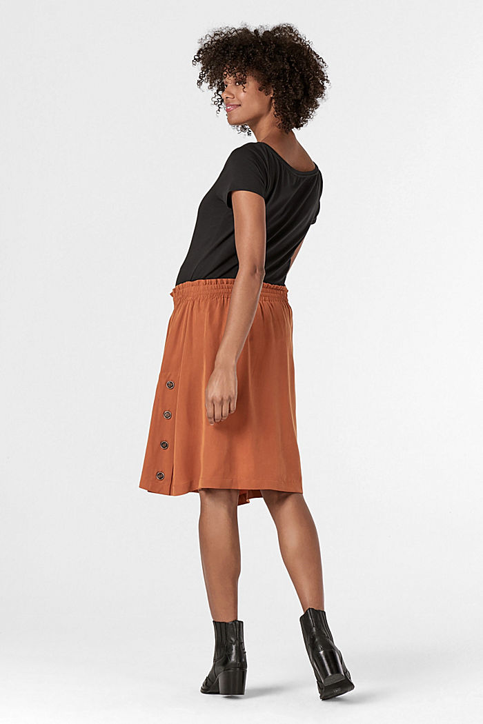 Lyocell skirt with a comfy waistband, RUST, detail image number 2