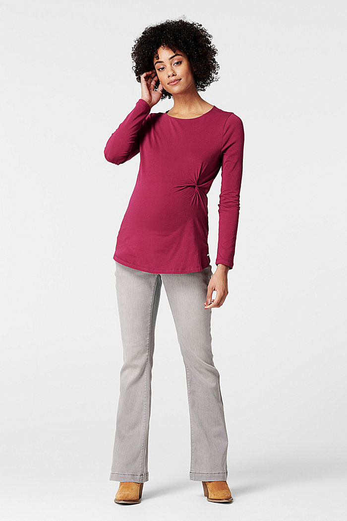 Draped long sleeve top with organic cotton, DARK LAVENDER, detail image number 0