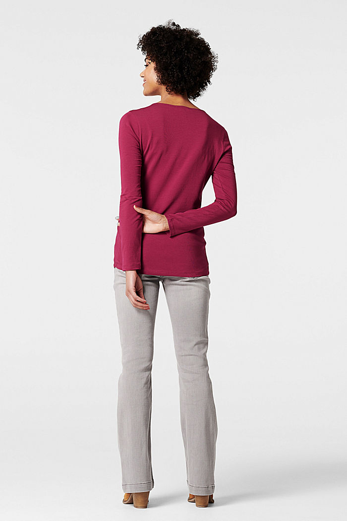 Draped long sleeve top with organic cotton, DARK LAVENDER, detail image number 2