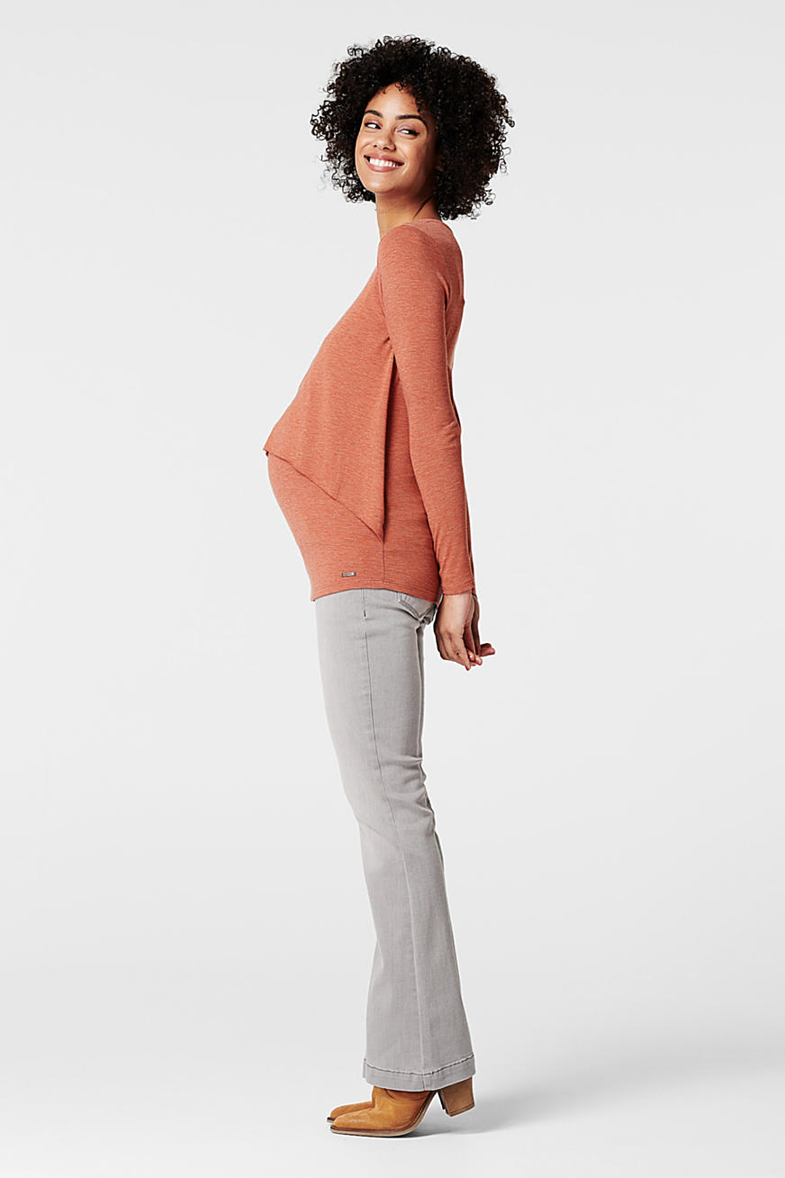 Layered long sleeve nursing top