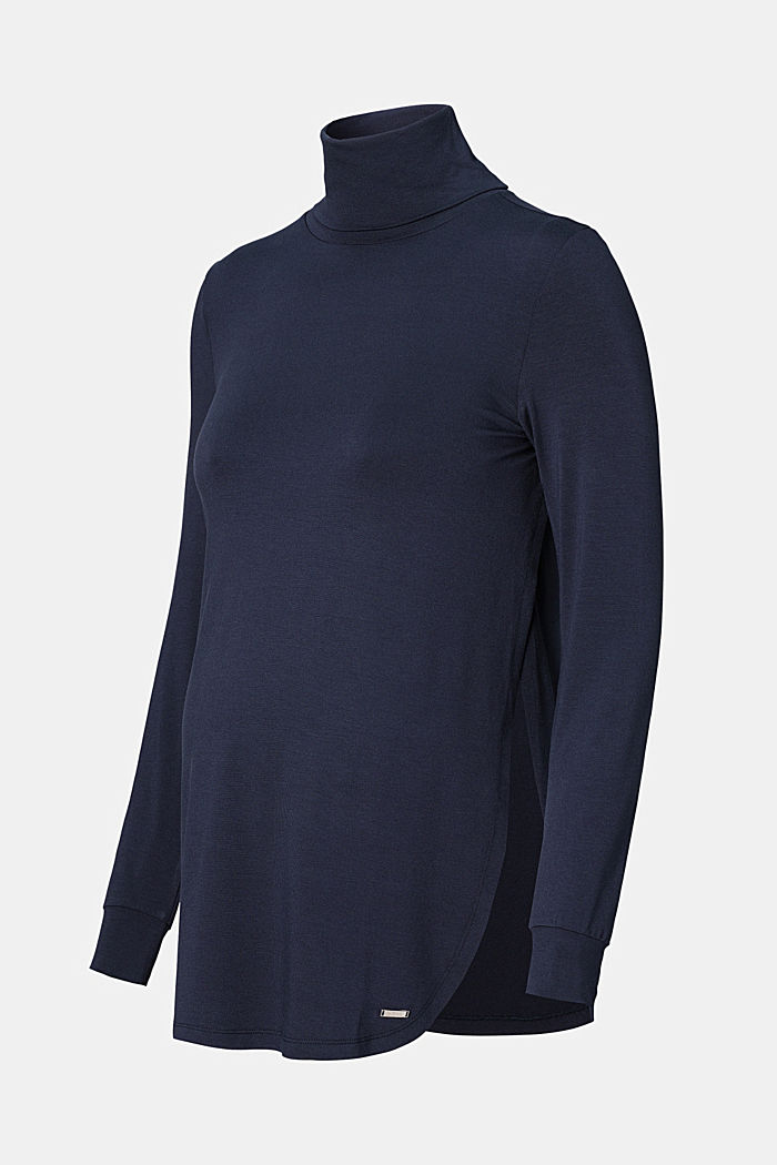 long sleeve polo neck top, NIGHT SKY BLUE, detail image number 4