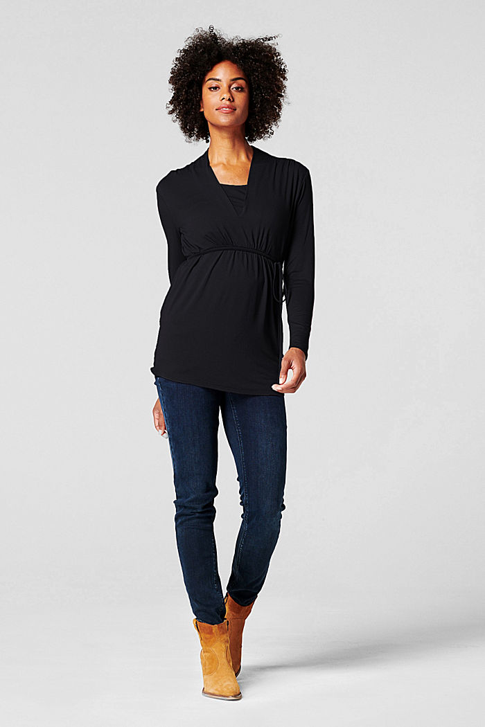 Long sleeve nursing top, DARK GUNMETAL GREY, detail image number 6