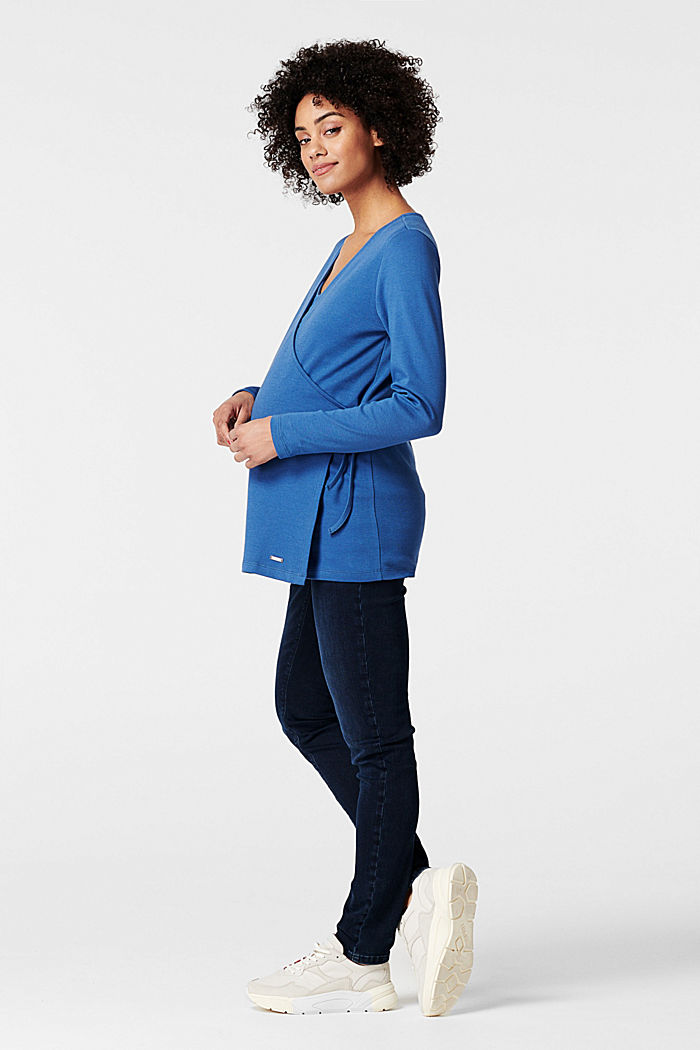 Long sleeve breastfeeding top made of 100% cotton, CINDER BLUE, detail image number 1