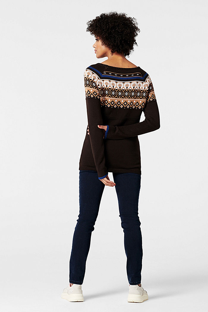 Jacquard jumper with a Fair Isle design, COFFEE, detail image number 2