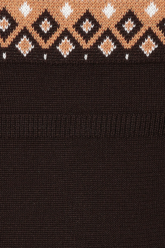Jacquard jumper with a Fair Isle design, COFFEE, detail image number 3