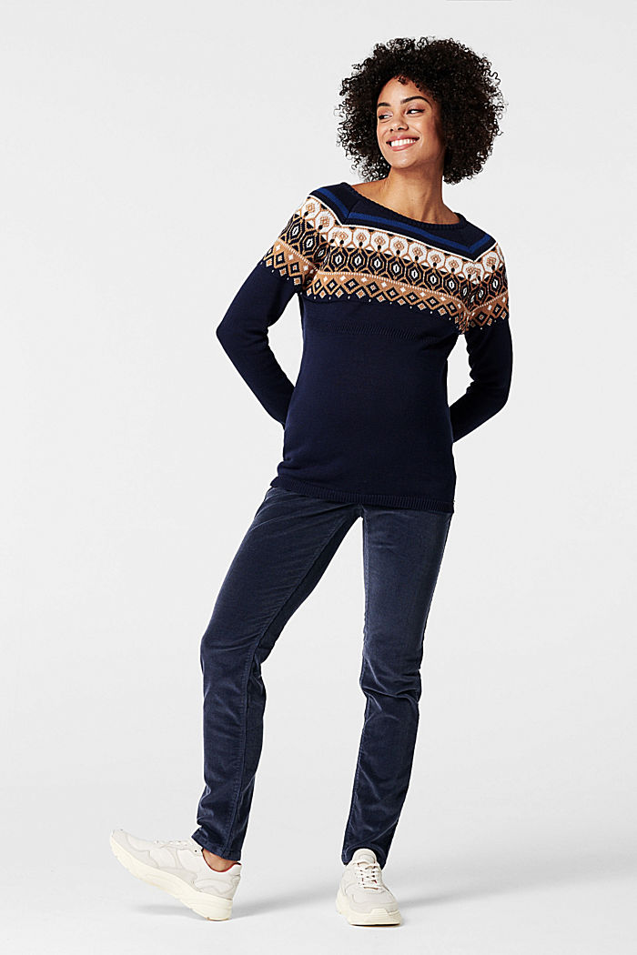 Jacquard jumper with a Fair Isle design, NIGHT SKY BLUE, detail image number 0