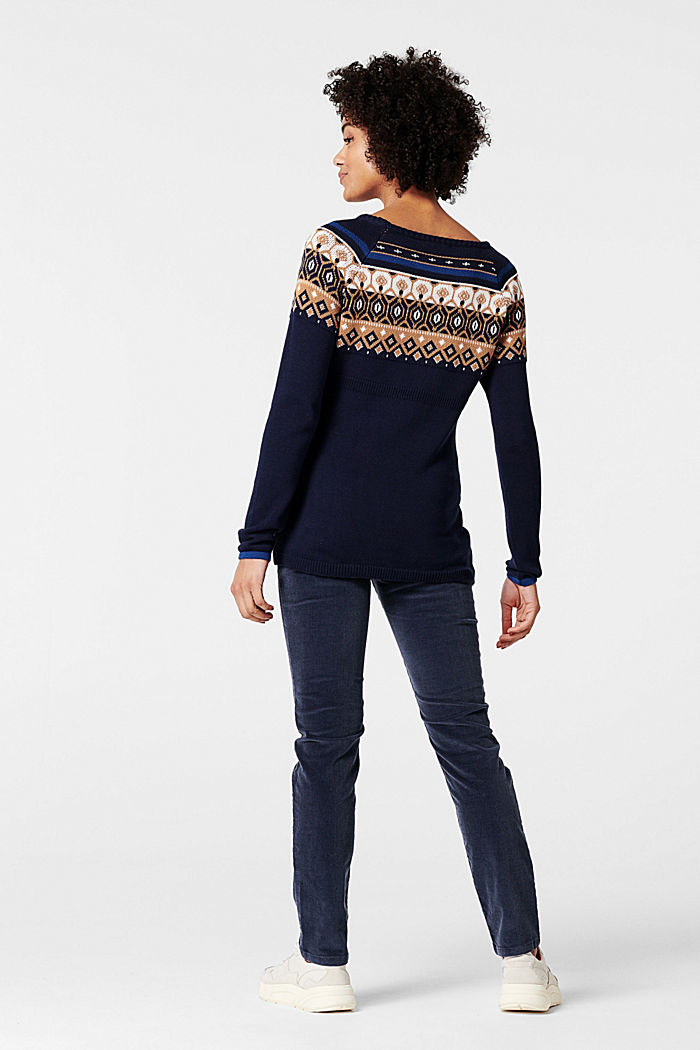 Jacquard jumper with a Fair Isle design, NIGHT SKY BLUE, detail image number 2