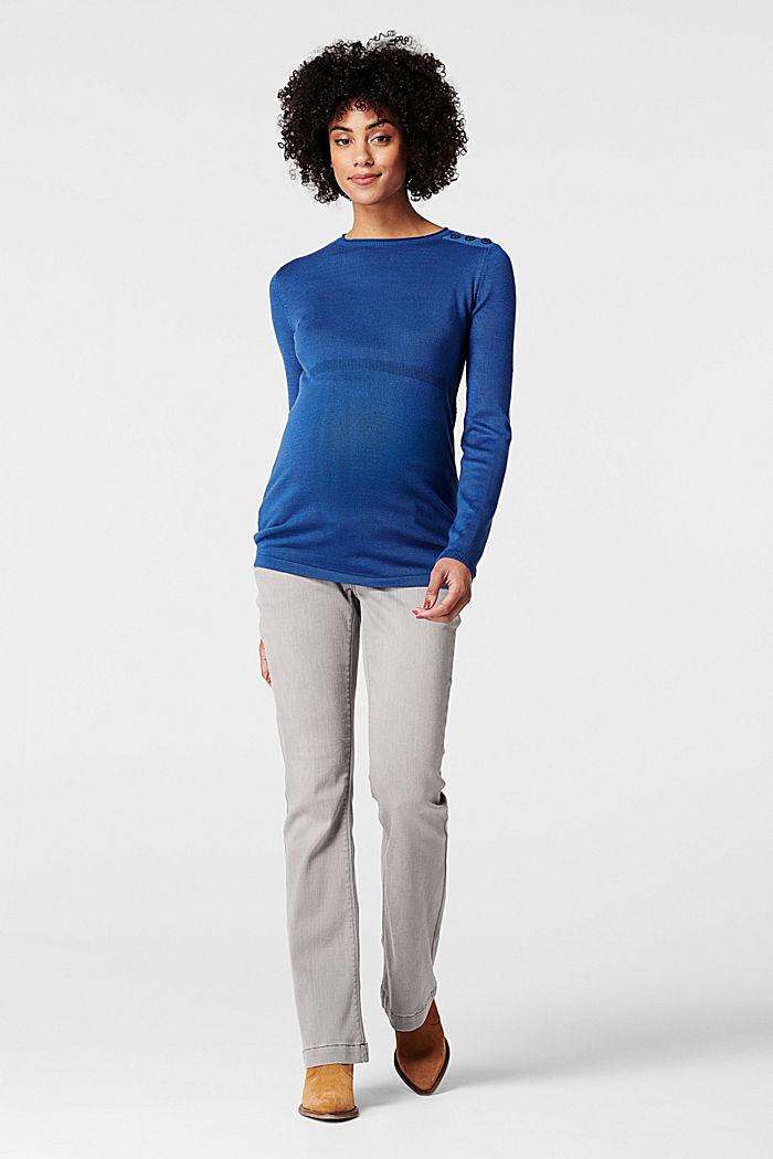 Feiner Strick-Pullover mit Zier-Knöpfen, CINDER BLUE, detail image number 0