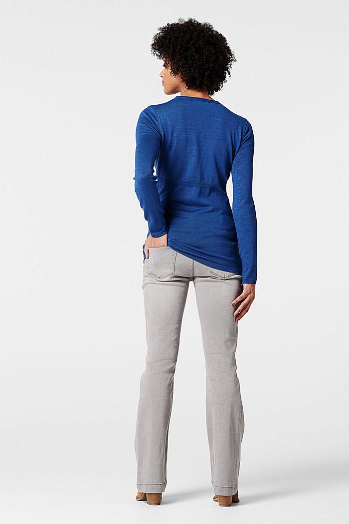 Feiner Strick-Pullover mit Zier-Knöpfen, CINDER BLUE, detail image number 1
