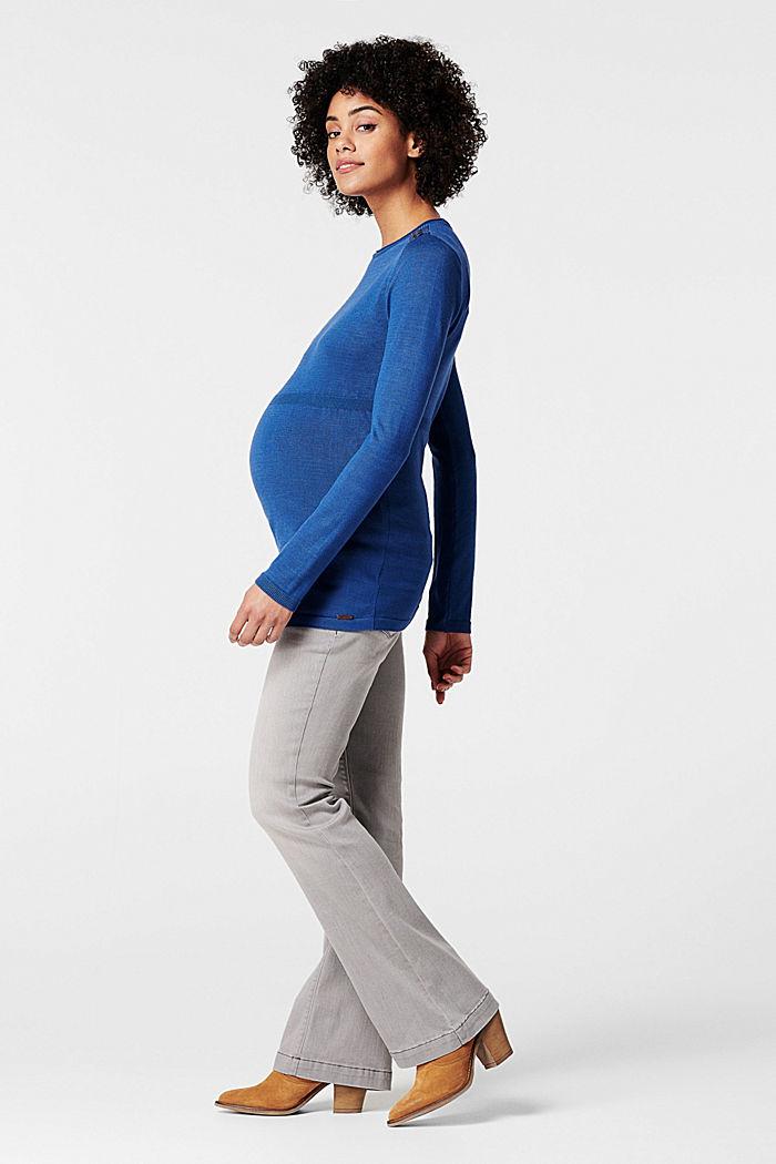 Feiner Strick-Pullover mit Zier-Knöpfen, CINDER BLUE, detail image number 3
