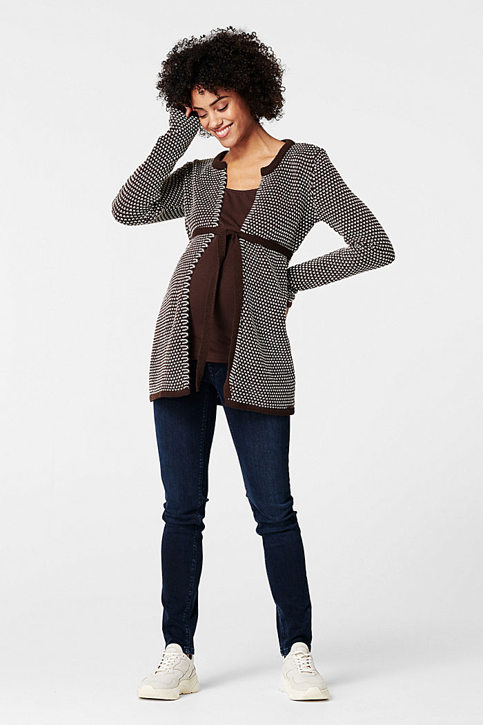 Cardigan with a two-tone texture, COFFEE, detail image number 0