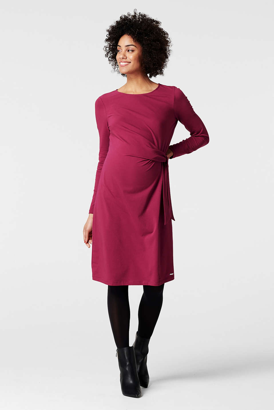 Esprit - Jersey dress with wrap-over detail