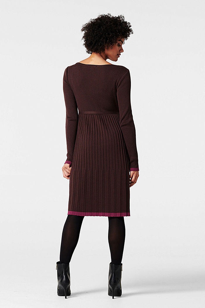 Knitted dress with a pleated skirt, COFFEE, detail image number 2