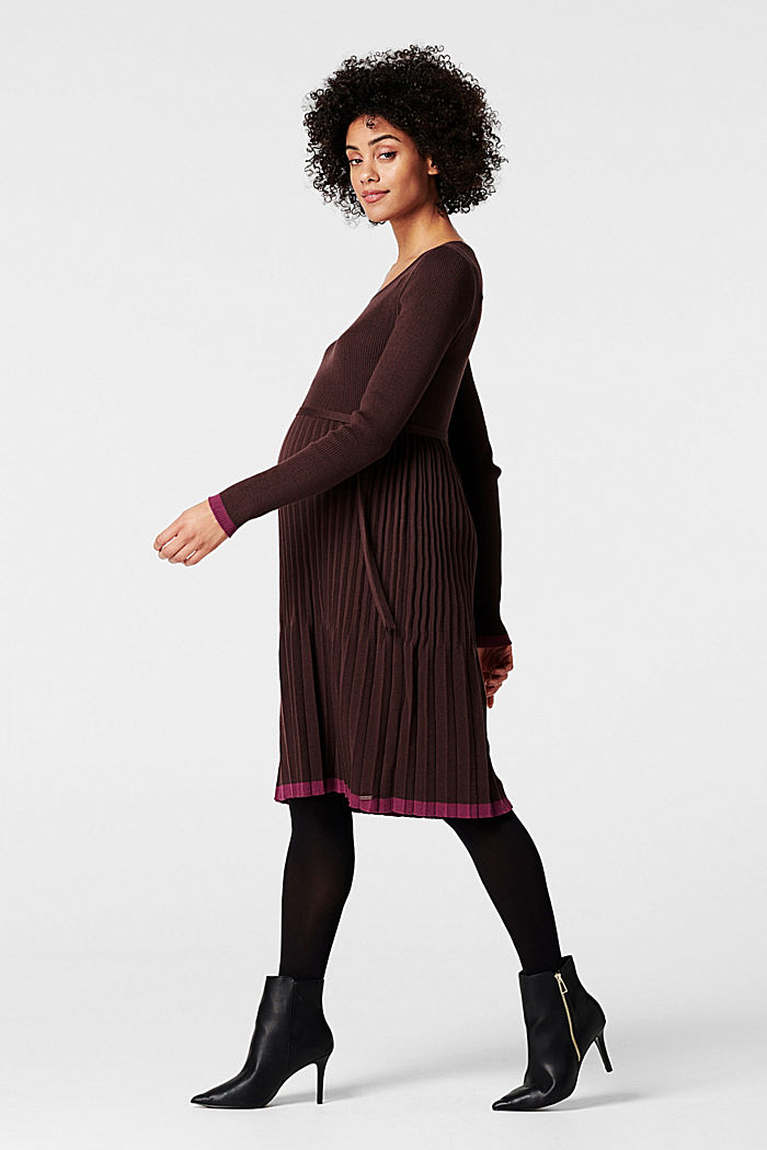 Knitted dress with a pleated skirt, COFFEE, detail image number 1