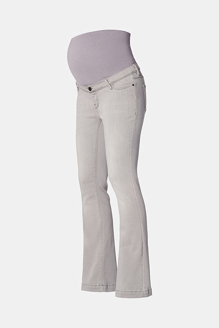 Flared stretch jeans with an over-bump waistband