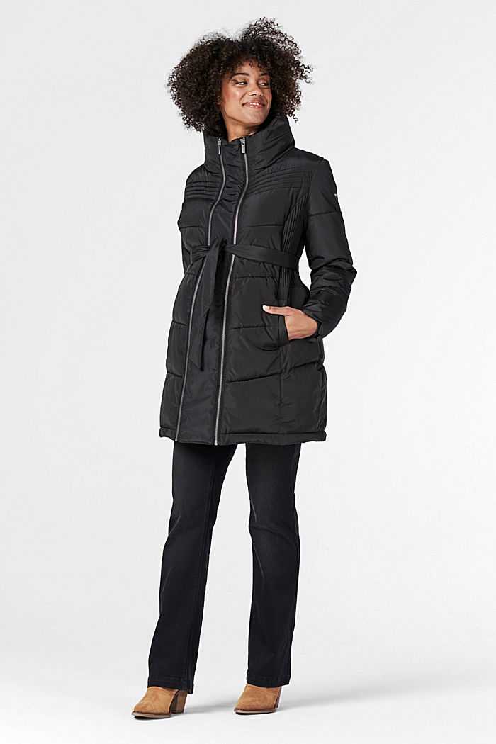 2-way quilted jacket with a concealed hood