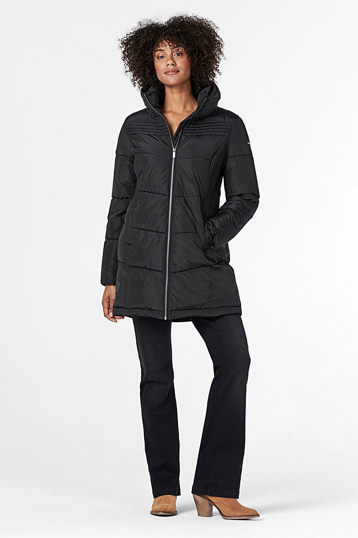 2-way quilted jacket with a concealed hood, GUNMETAL, detail image number 4