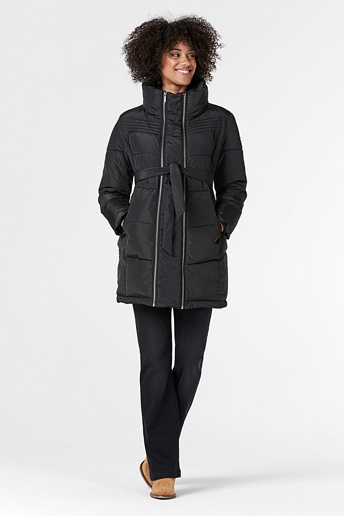 2-way quilted jacket with a concealed hood, GUNMETAL, detail image number 1