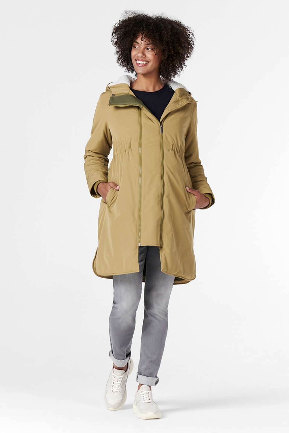 Esprit - Parka transformable con forro de borreguillo