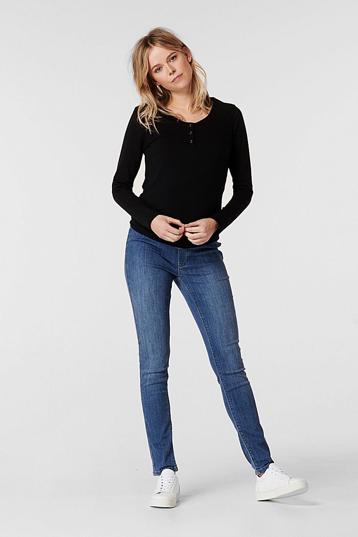 Stretch jeggings with an under-bump waistband, MEDIUM WASHED, detail image number 0