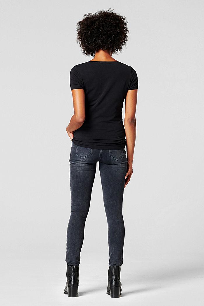 Appliquéd sequin T-shirt, GUNMETAL, detail image number 1