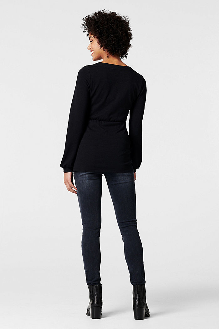 Wrap-over long sleeve top with a nursing function, GUNMETAL, detail image number 2