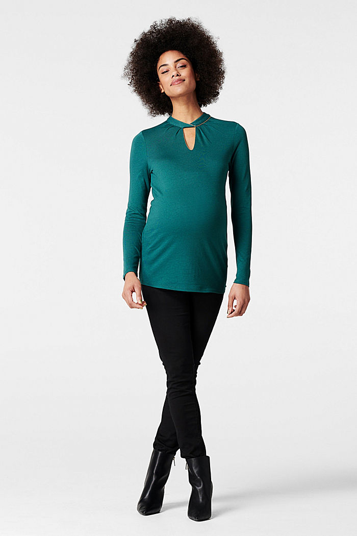 Long sleeve top with an embellished neckline, HAY GREEN, detail image number 0