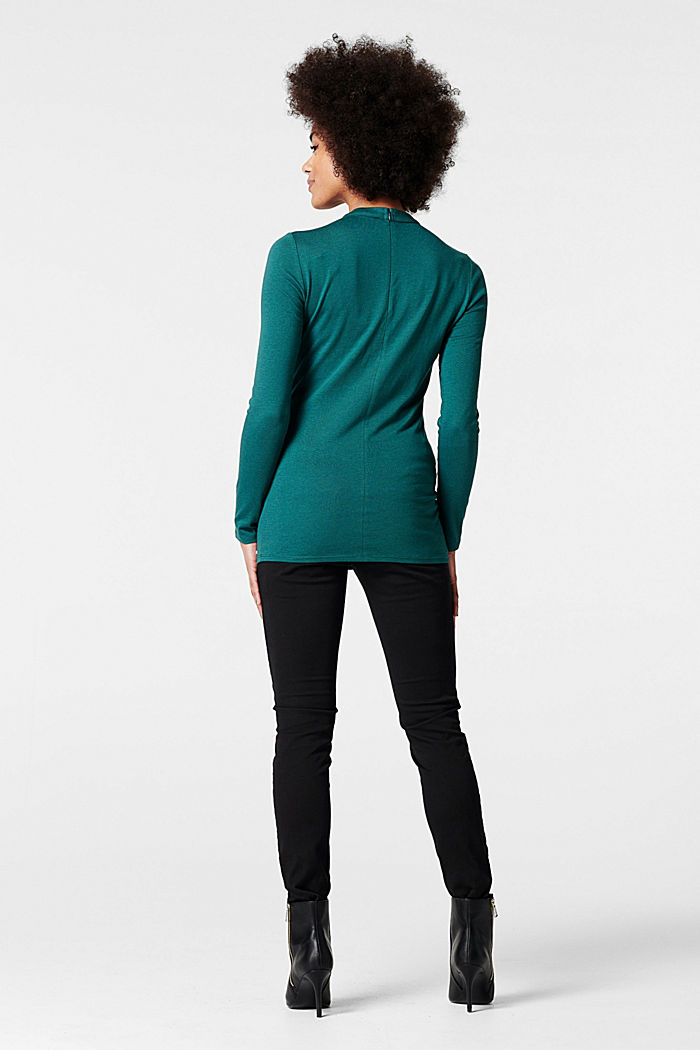 Long sleeve top with an embellished neckline, HAY GREEN, detail image number 1