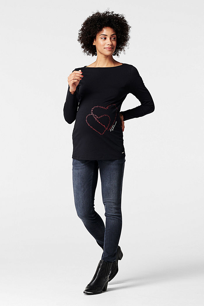 Long sleeve top with a heart print, GUNMETAL, detail image number 0