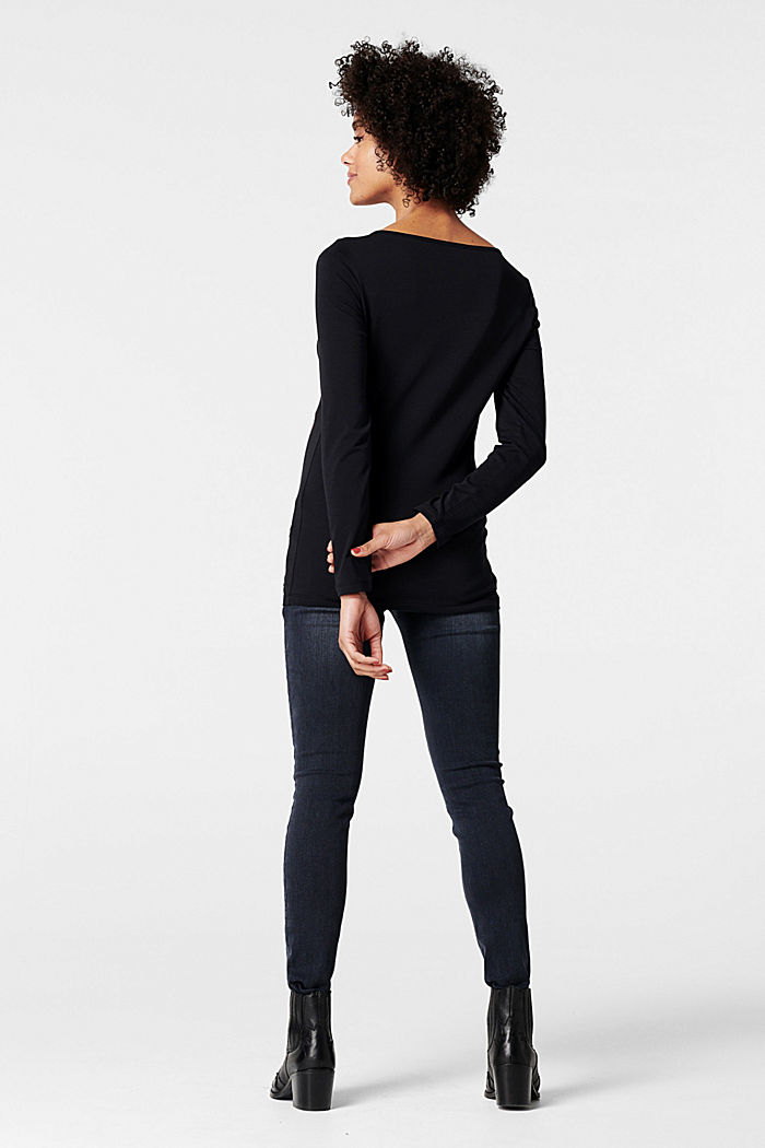 Long sleeve top with a heart print, GUNMETAL, detail image number 1