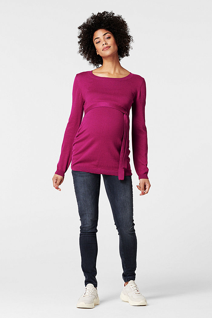 Fine knit jumper with a belt, CREAMY BERRY, detail image number 0