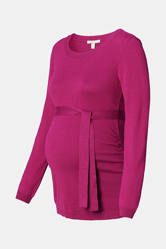 Feiner Strick-Pullover mit Gürtel