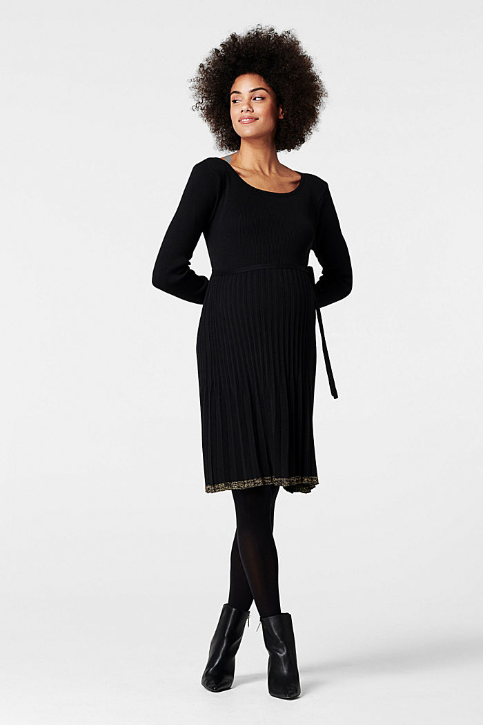 Knitted dress with a pleated skirt, GUNMETAL, detail image number 0