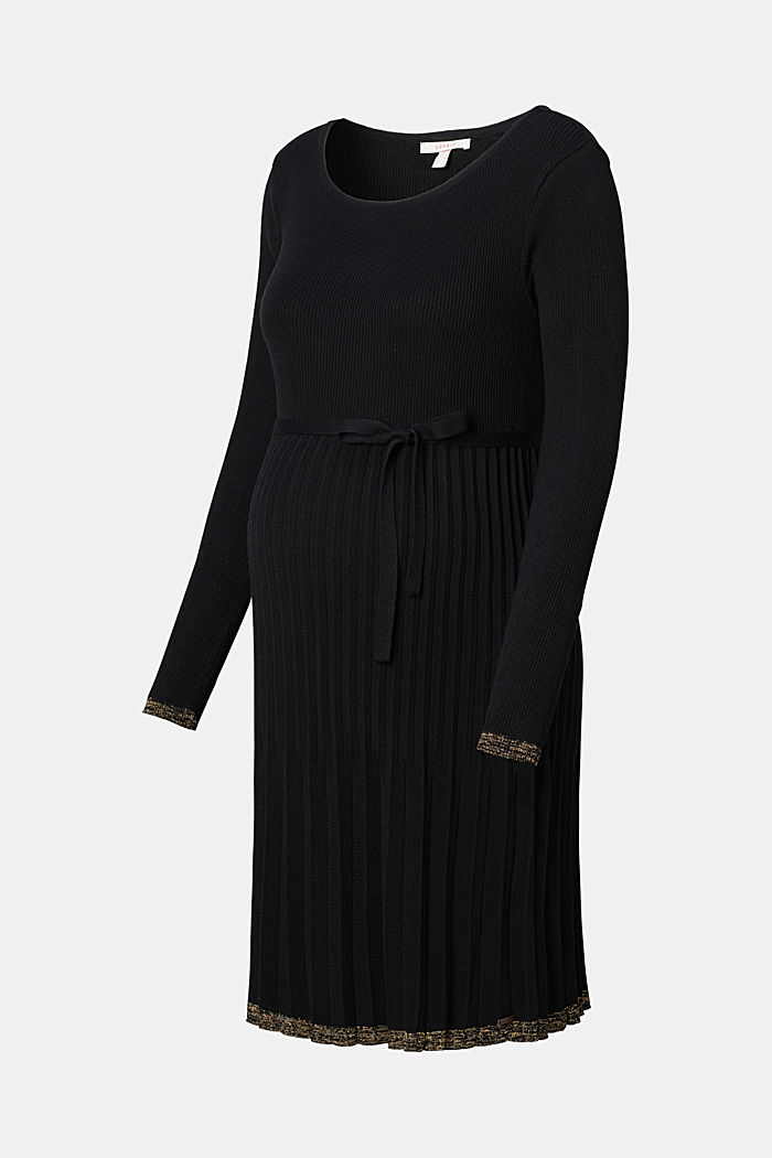Knitted dress with a pleated skirt, GUNMETAL, overview