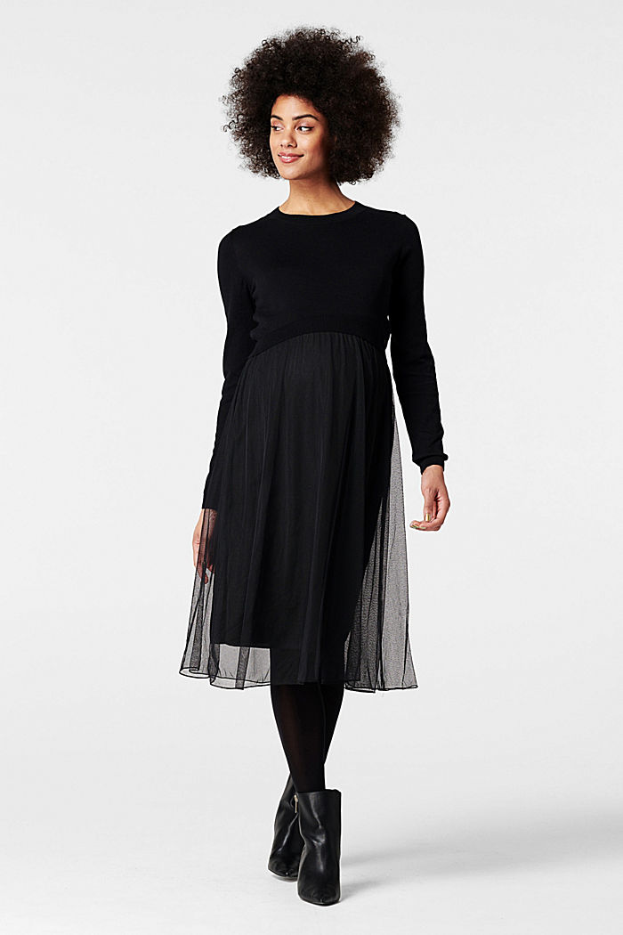 Dress with lace and nursing access, GUNMETAL, overview