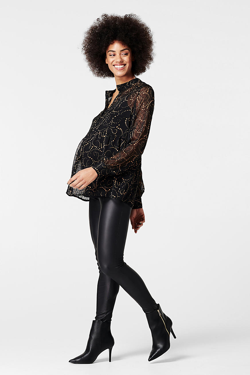 Leather-effect leggings with an over-bump waistband