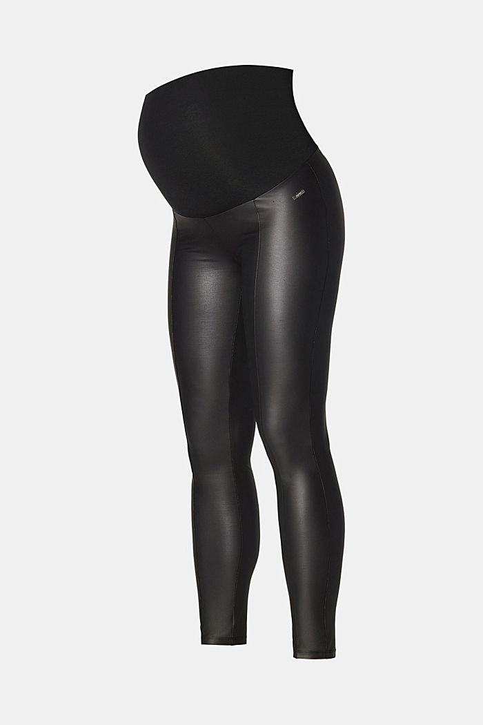 Leather-effect leggings with an over-bump waistband, GUNMETAL, detail image number 1