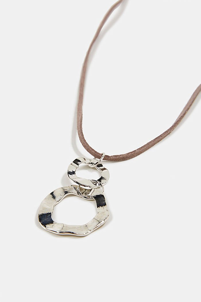 Necklace in faux leather with a metal pendant, SILVER, detail image number 1